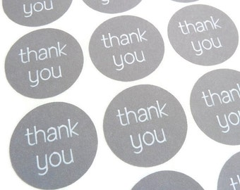 "48 Count Thank You Sticker -  White Ink Sticker - Thank You Label - Wedding Favor Sticker - 1.25"" Round - Product Label - Merchandise Label"