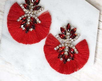 Red Tassel Pageant Prom Wedding Fancy Bridesmaid Rhinestone Sparkle Statement Earrings