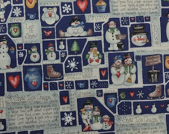 Cotton Christmas Fabric, Cotton Quilting Fabric, Snowman Fabric, Marcus Fabric by the Yard, Holiday Fabric - 1 Yard - HCF2687