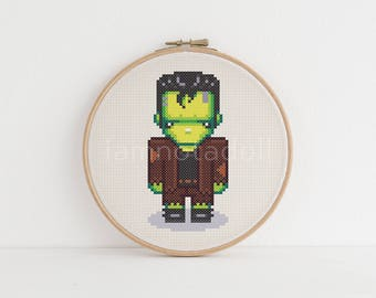 Monster - a cute pixel art counted cross stitch pattern