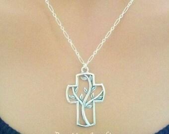 Silver Cross Necklace - Sterling Silver Tree of Life Cross Necklace - Christian Necklace - Cross Necklace - Cross Jewelry