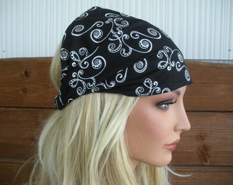 Fabric Headband Womens Headband Summer Fashion Accessories Women Head scarf Yoga eadband in Black with White Swirl print