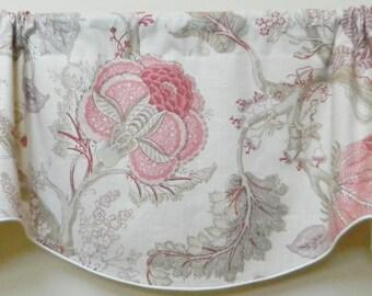 Kravet Ivana Designer Window Valance / Corded, Lined Valance/ Rod Pocket Scalloped Valance / Linen Fabric