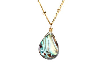 Abalone necklace - shell necklace - teardrop - everyday - a wire wrapped abalone shell on a 14k gold vermeil or sterling silver chain