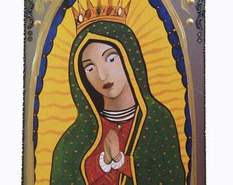 Virgin of Guadalupe, Catholic Folk Art,  Virgin Mary Art, Collage on Steel using Print from my Original Art, Christina Miller Artist