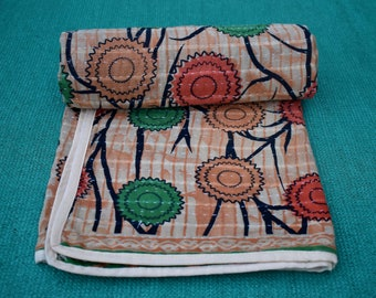 Vintage kantha baby quilt, vintage sari quilt, baby blanket, handmade quilt, Baby gift, baby shower, recycled kantha, reversible quilt