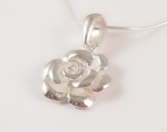 sterling silver rose necklace, rose necklace, silver flower necklace, flower necklace, bridesmaid necklace, gift for bridesmaid, wedding
