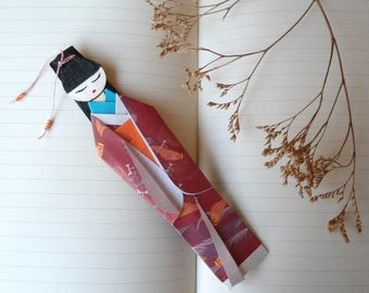 Bookmark Origami, Kimono Bookmark burgundy, Japanese Paper Doll, Paper Doll, personalized gift, book marks.