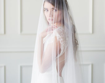Wedding Veil with Blusher, Drop Veil, Sheer Wedding Veil, Floor Length Wedding Veil, Sheer Wedding Veil with Blusher, Soft Bridal Veil