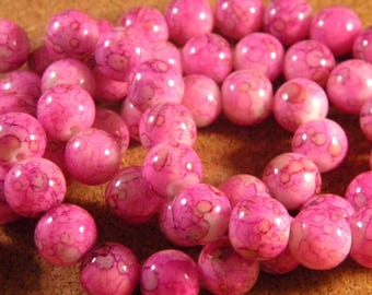 10 glass beads 10 mm pink marble JAD 40