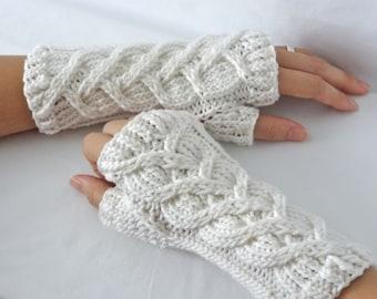 Intertwined Hearts Knit Merino Wrist Warmers