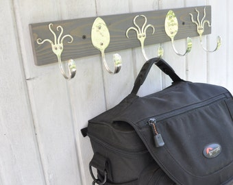 Awesome Coat Rack With Funky Fork Hooks Stained Gray Recycled Silverware