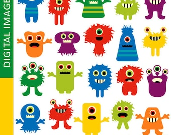 Monsters clipart sale  / Awesome monsters, commercial use digital printable clip art / Cute colorful monsters