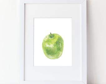 Green Apple Art Print- Watercolor Fruit Painting - Simple Watercolor Art - Various Sizes