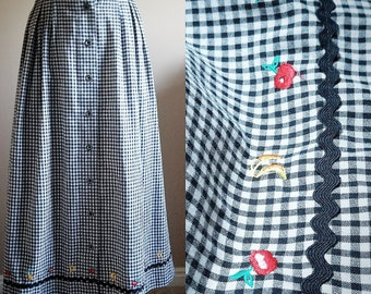 Black and White Gingham Checkered Swing Skirt with Embroidered Fruit