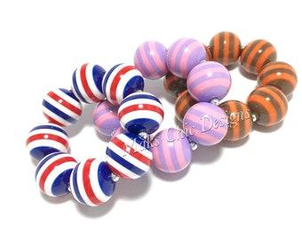Toddler or Girls Striped Chunky bracelets - Dress up Bracelet - Patriotic Bracelet - Pink and Purple Bracelet - Fall Bracelet - Red and Blue