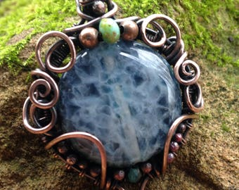 Copper Wire Wrapped Pendant, Wire Wrapped Jewelry, Blue Wire Pendant, Glass Pendant