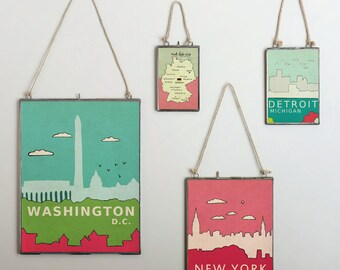 New York (Brights) // Typographic Illustration Print, Digital Print, Art Poster, City Skyline, Nursery Art, Modern Art, Loft Dorm Room Decor