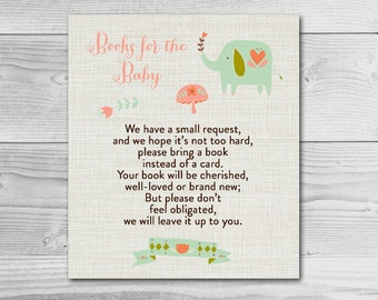 Elephant Baby Shower Inserts - Books for the Baby - Instant Download Printable - Baby Girl