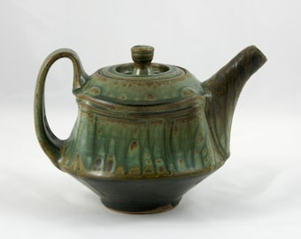 Unique Handmade Teapot, Wheel Thrown and Altered Pottery, Green and Black