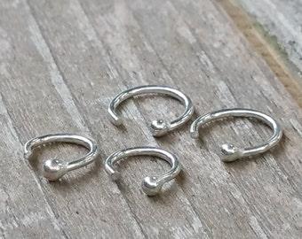 Tiny Silver Hoop Earrings