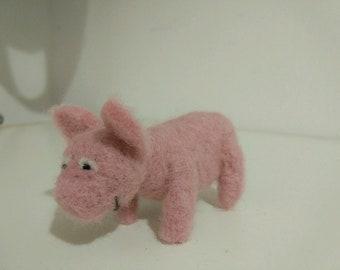 Piggy, needle felted