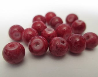 10 red beads marbled glass 6mm
