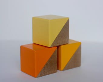 3 Sunshine Yellow Painted Wooden Blocks
