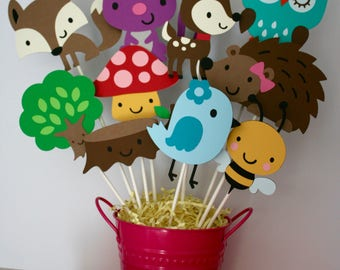 Woodland themed animal centerpiece without container, Woodland animal birthday party, Woodland themed birthday