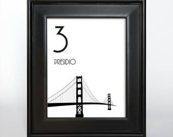 Printable San Francisco Table Number Wedding Decor Reception Sign Cards Landmark Icons 4x6 5x7 or 8x10 Choose Font, Color and Landmarks