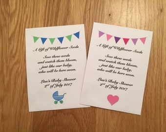 Personalised baby shower gift wildflower seeds present thank you