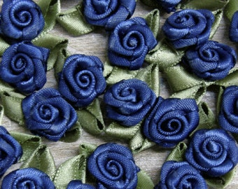 Navy Blue Rosebuds Roses Wedding Card Embellishments Rose buds card Craft Sewing 25  50 100 500