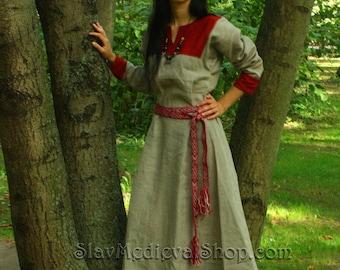 Early Medieval linen underdress dress.   100% linen. Viking costume, reconstruction.