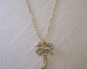 Gold Palm Tree Necklace - Rhinestone Palm Tree Necklace