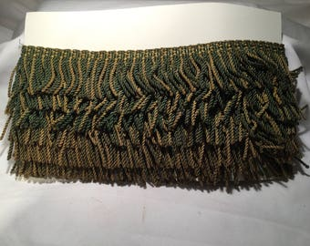 "Vintage Fringed Trim Green/Gold 4+ yds. X 2.25"" inches"