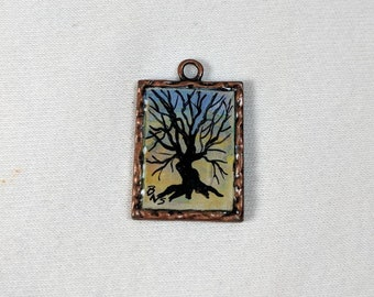 Tree of Life Pendant, Sunset, Copper Bezel, Add Chain or Cord, Hand-Painted Scene, Jewelry Supplies, Dimensional Magic