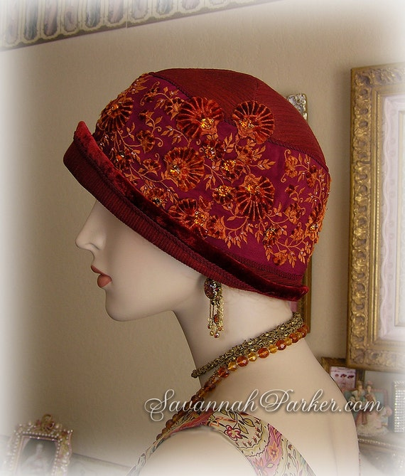 Antique Style 1920s Burgundy Red Jeweled Gatsby Flapper Downton Abbey Silk Cloche - Antique Hand Embroidery - Antique Silk Velvet Applique