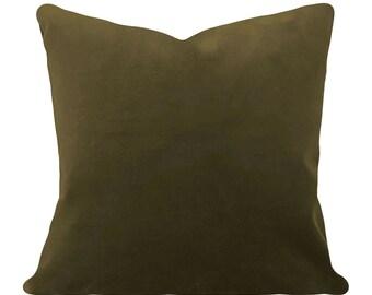 Olive Green Velvet Pillow Cover - Decorative Pillow - Both Sides - 12x16, 12x20, 14x18, 14x24, 16x16, 18x18, 20x20, 22x22, 24x24, 26x26