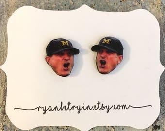 Jim Harbaugh Earrings - Michigan Wolverine Stud Earrings - Graduation Gift - University of Michigan Jewelry - Wolverine Fans - Football Fan