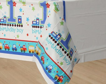 54 x 102 inch All Aboard Table Cover - Birthday Party Tablecloth - Colorful Transportation Theme - Birthday Boy - 1st Birthday