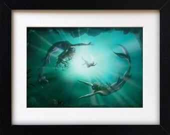 Mermaids framed print A4