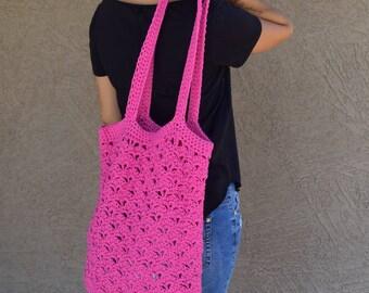 Crochet tote bag shoulder bag 100% cotton avoska handmade bag beach farmers market boho bohemian bright pink summer bag reusable tote