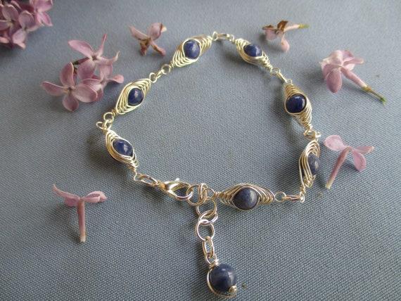 Sodalite Herringbone Wire Wrap Bracelet N517182