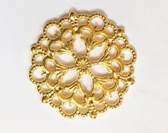 4 pcs of gold plated filigree focal pendant 29mm, gold filigree connector