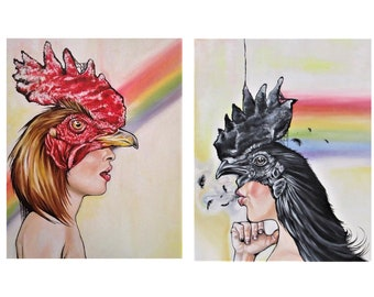 "Print Set (Two 11x14 ) ""Bird Brain"" Signed and Numbered Giclee Fine Art Prints By Alexis Price"