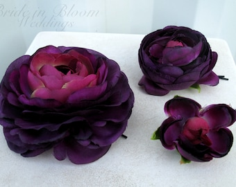 Wedding hair accessories Plum purple ranunculus bobby pins set of 3 Bridal hair flowers