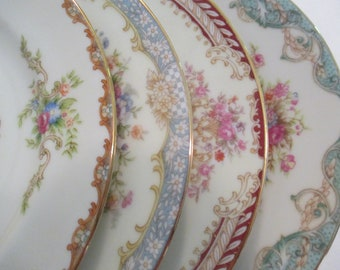 Vintage Mismatched China Dessert Plates, Bread Plates, Cake Plates, Tea Plates, Shabby, Mother's Day, Wedding, Bridal Luncheon - Set of 4