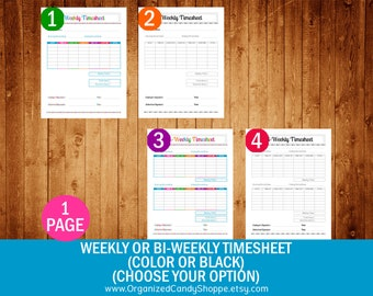 Weekly Timesheet or Bi-Weekly Timesheet (Color or Black)(Choose Your Option) • PDF Printable