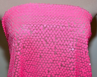 Neon Pink Stretch  Sewn on sequin fabric on mesh.. dance, pageant, theater, costume, crafts