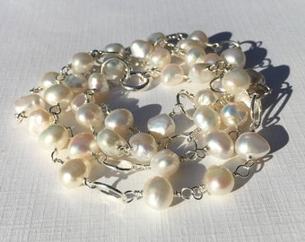Pearl Necklace, White Freshwater Pearls, Sterling Silver, 29 Inches Long, Spring Ring Clasp, Nugget Pearls